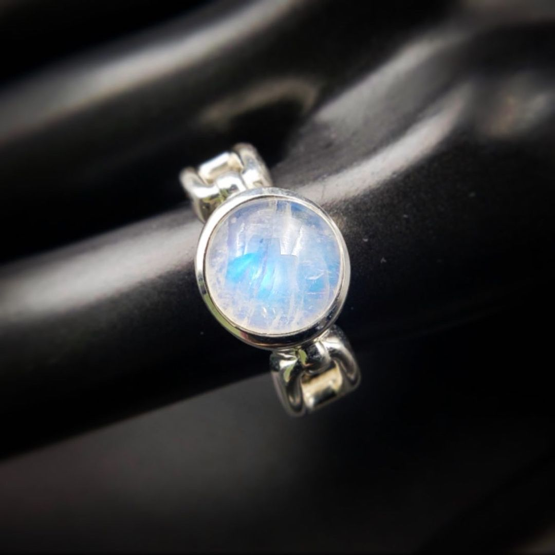Glitz Glam Blue Diamontrigue Jewelry: Moonstone Crystal Ring