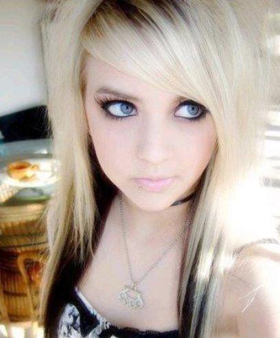 girls blonde with hair Emo scene
