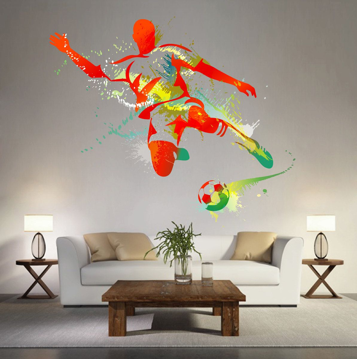 kcik119 full color wall decal soccer football ball sport on wall stickers for hall id=24080