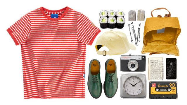 """""""Mild"""" by m-aria ❤ liked on Polyvore featuring Dr. Martens, Infinity Instruments, LØMO, Fjällräven, BOBBY, Docs, stripe and sushi"""