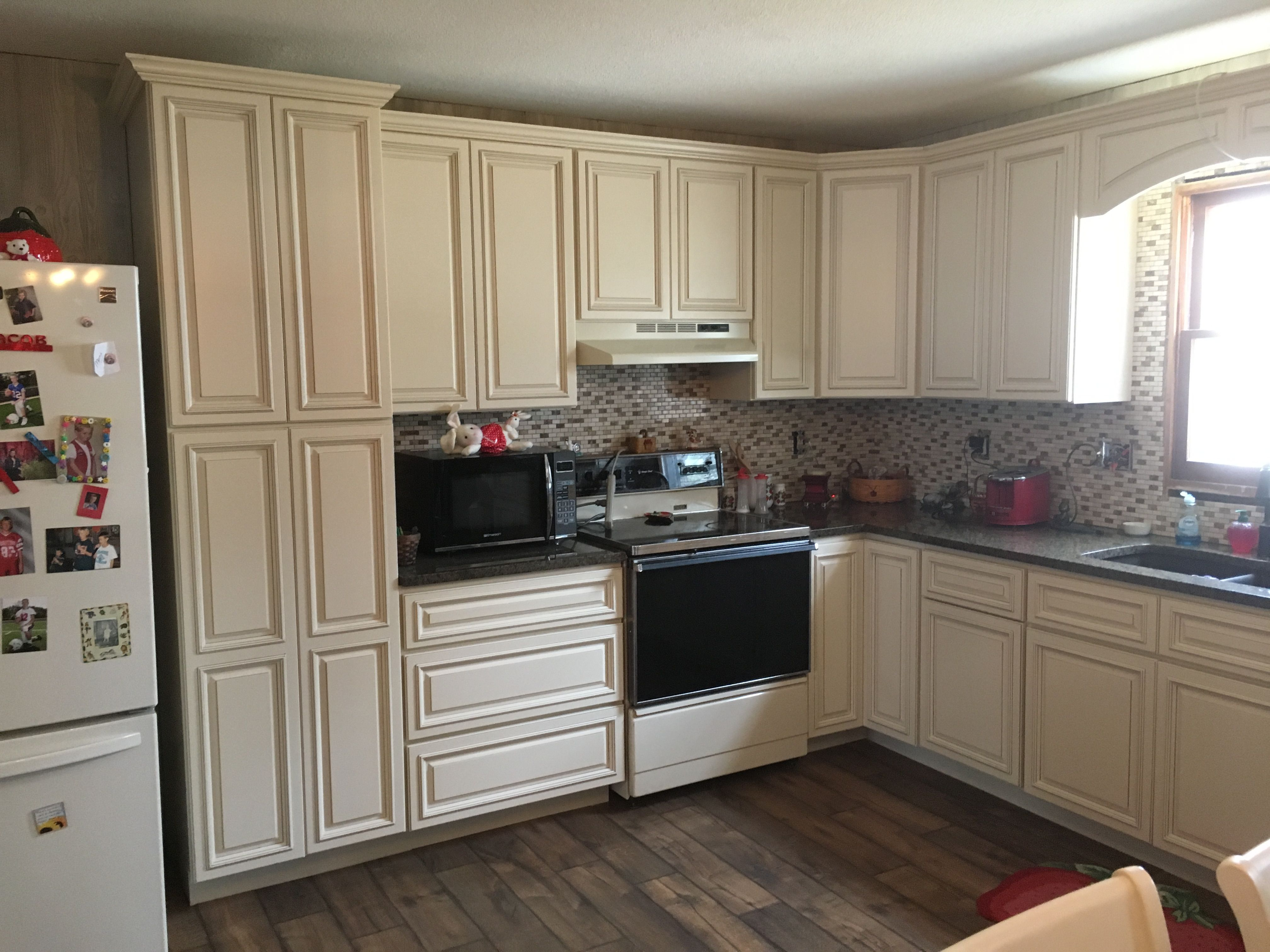 Yikes A Fire Gutted This Kitchen Owner Chose Monroe Cream All Wood Cabinets To Re Do Her Kitchen Premi Semi Custom Cabinets Wood Cabinets Kitchen Cabinetry