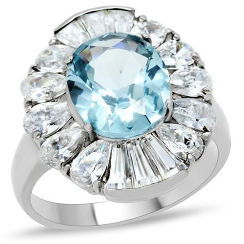 Women's Stainless Steel Aquamarine Topaz CZ Cocktail Flower Blue Oval Ring #Cluster