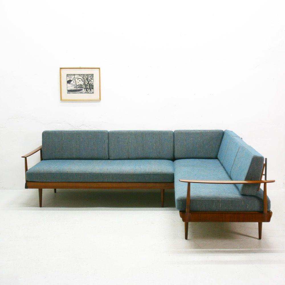 60er jahre knoll antimott ecksofa daybed nussbaum in m bel wohnen m bel sofas sessel. Black Bedroom Furniture Sets. Home Design Ideas