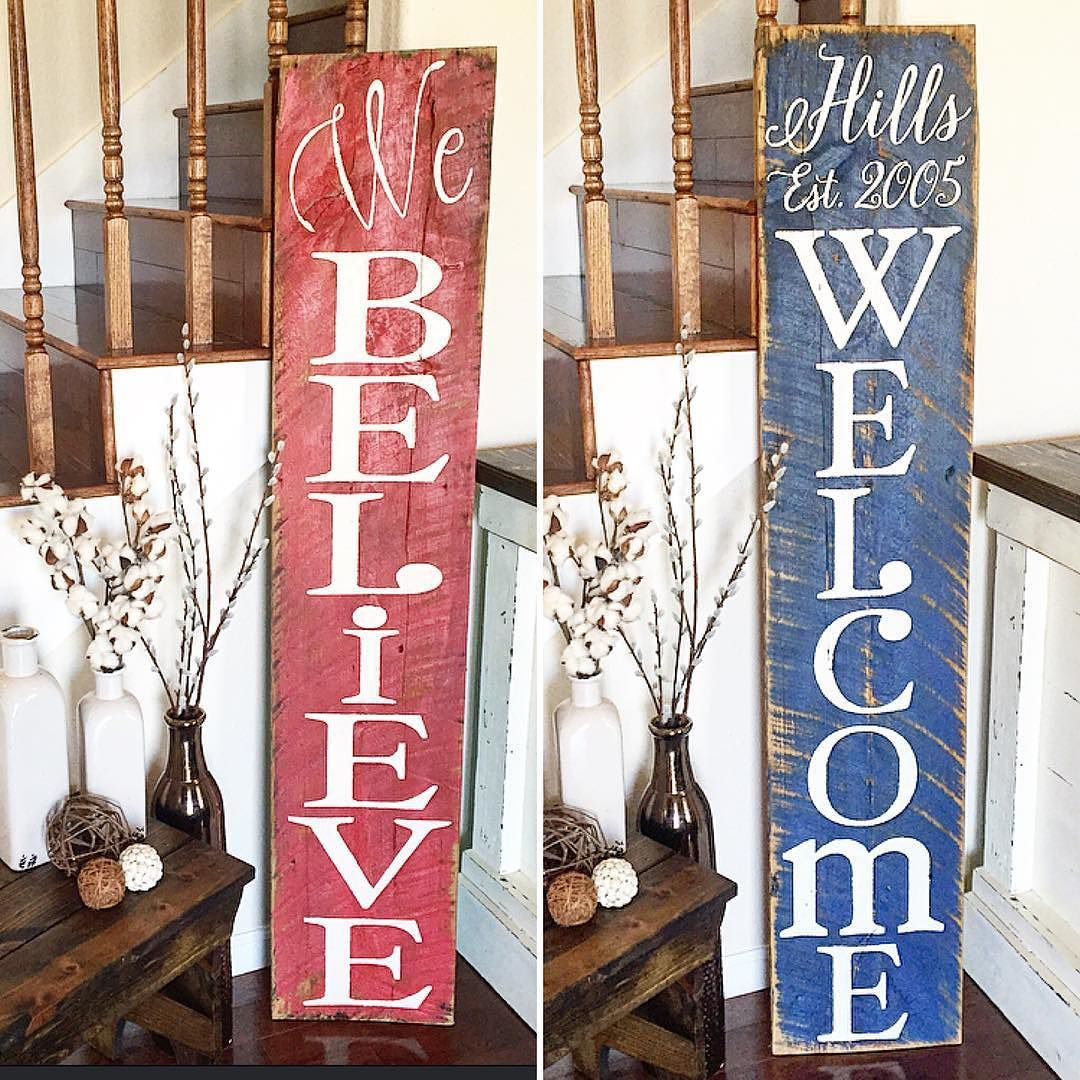 Double Sided Barnwood Porch Sign Last Name Welcome On