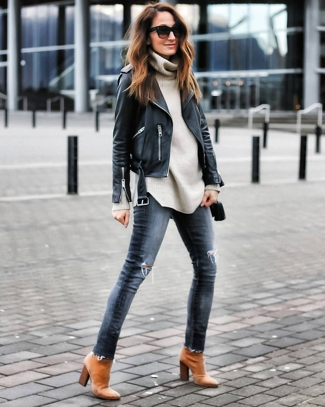 Fashion Clue Street Outfits Trends Leather Jacket Outfits Beige Leather Jacket Outfit Fashion [ 1350 x 1080 Pixel ]