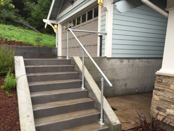 14 Exterior Handrail Ideas Read More Outdoor Stair Railing | Exterior Handrails For Steps | Cast Iron | 3 Step | Brushed Nickel | Front Step Railing Pipe | Garden