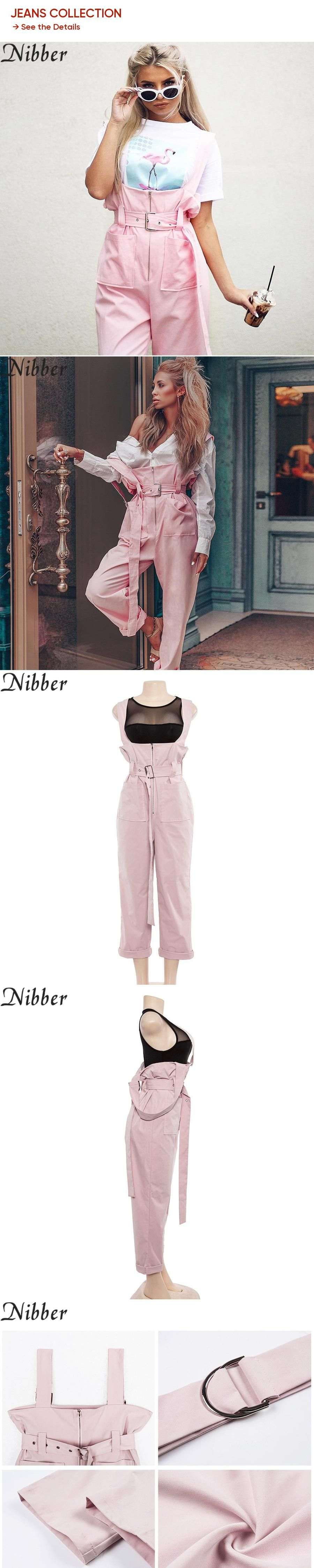 Nibber Brief Solid Women Jumpsuits Slim Strap Adjust Rompers Casual Big Pocket Denim Overalls Fashion Candy Color Jean Jumpsuit Bottoms