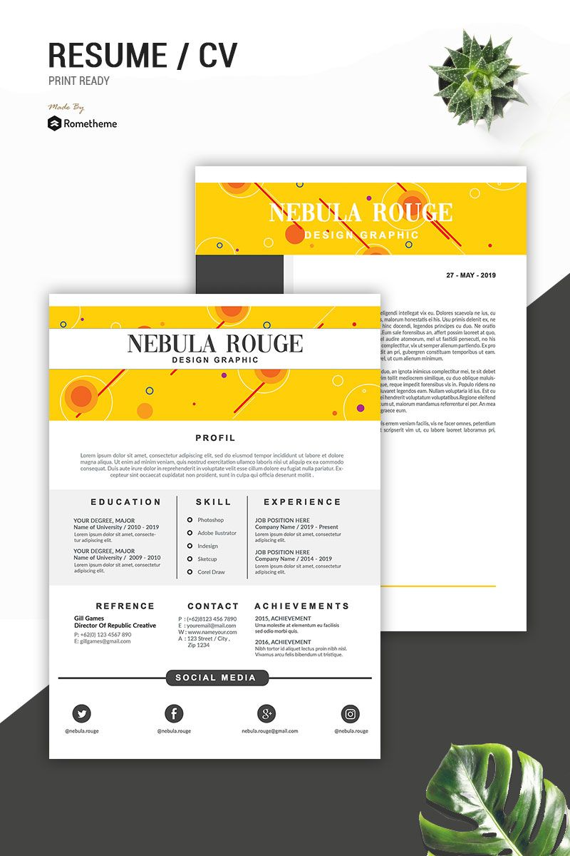 Nebula Rouge Resume Template 83432 Resume, Graphic