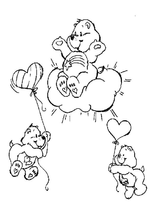 Care Bears Coloring Pages Care Bears Flying With Balloons Bear Coloring Pages Family Coloring Pages Coloring Pages