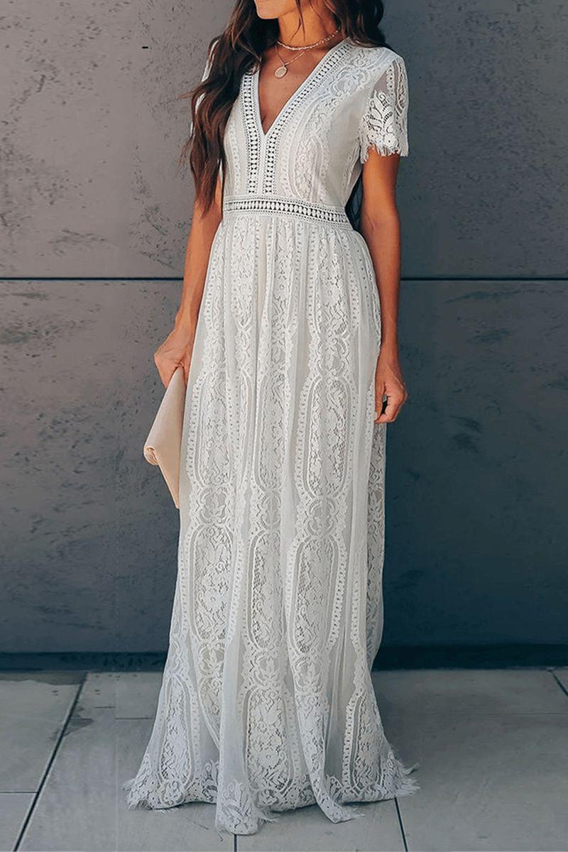 White Vintage Style Temperament Embroidered Lace Dress White Lace Maxi Dress White Lace Maxi Lace White Dress [ 1200 x 800 Pixel ]
