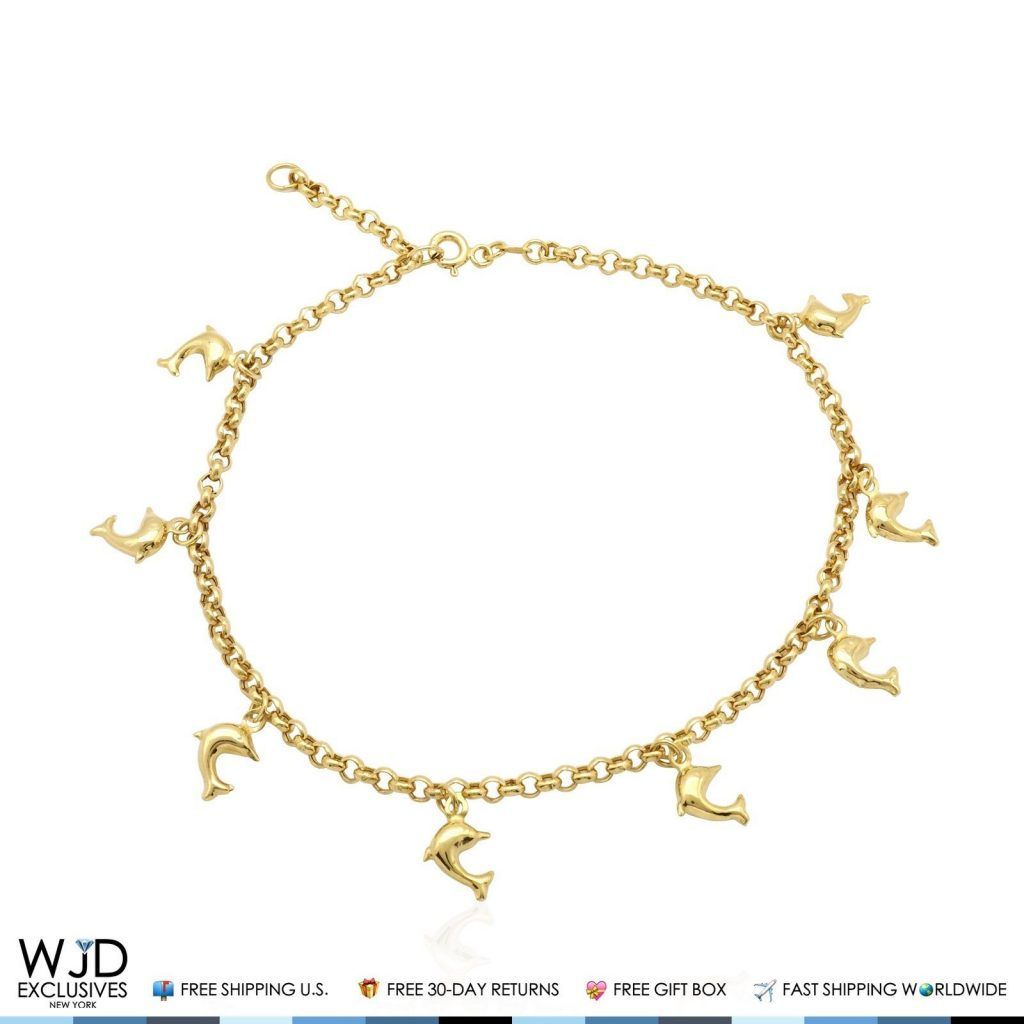 10k Yellow Gold Dolphin Rolo Spring Ring Clasp Anklet Bracelet 10 Wjd Exclusives Spring Rings Anklet Bracelet Halo Earrings Studs