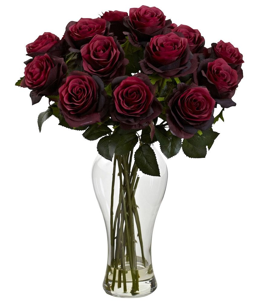 Rose Silk Flowers In Water With Diva Vase In 8 Colors 18 Inches