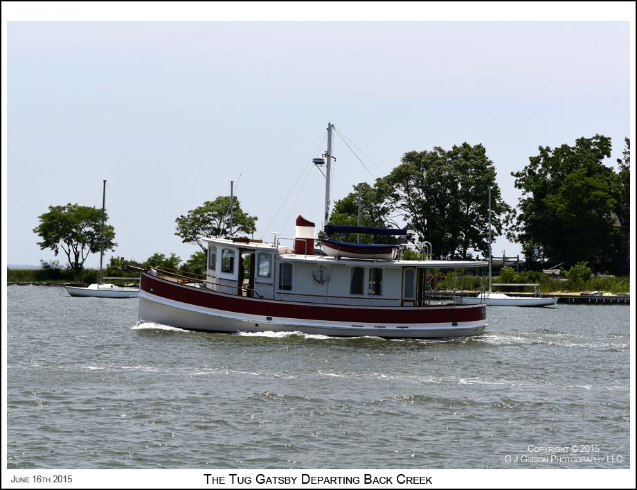 The 39' tug Gatsby passes near Bembe Beach on its way to the Severn River in Annapolis Maryland. Photograph published on June 16th 2015. To see a full size version of this photograph and the Annapolis Experience Blog article click on the Visit Site button. Image and article Copyright © 2015 G J Gibson Photography LLC.
