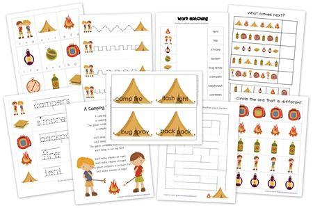 Camping Preschool Pack Free Preschool Printables Camping Preschool Camping Theme Preschool Camping Theme Classroom Camping themed worksheets
