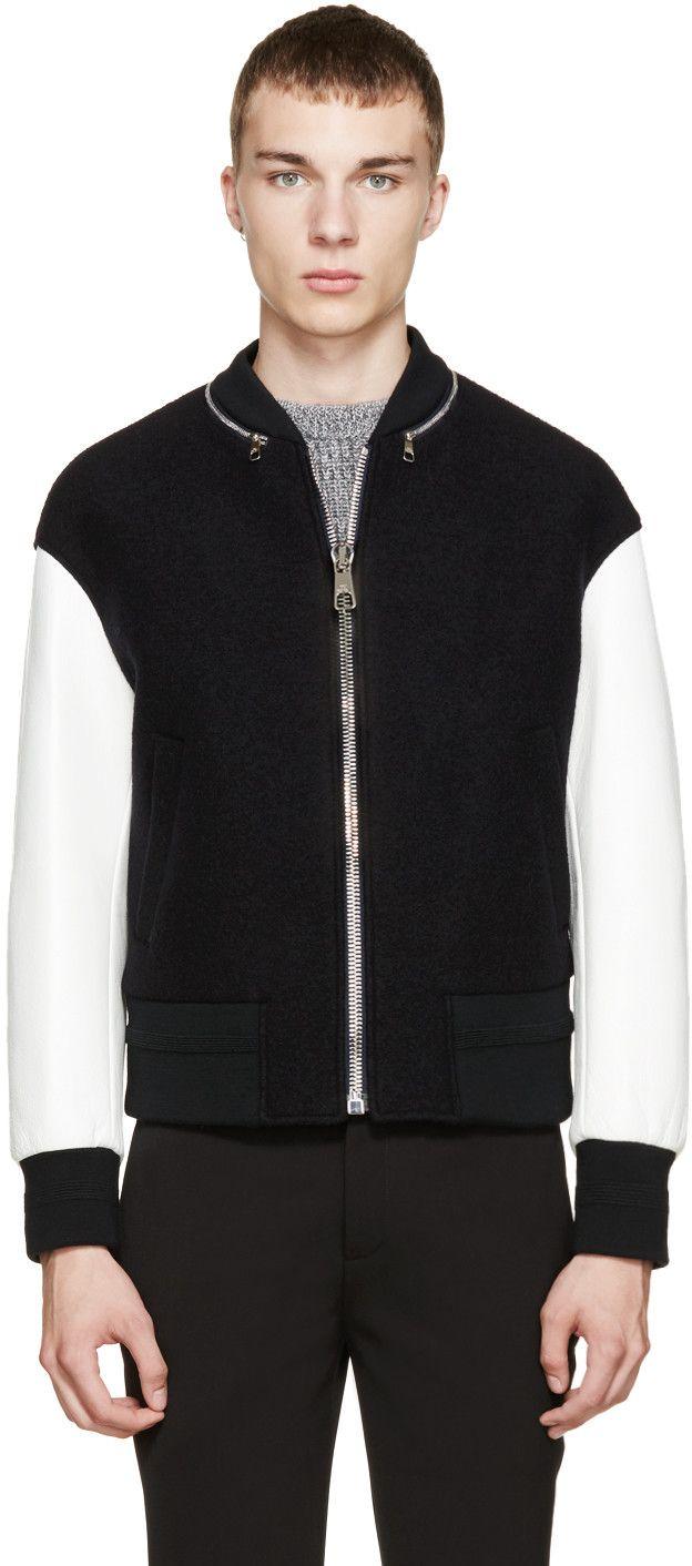 Neil Barrett Black White Bomber Jacket Mens Fashion Trends White Bomber Jacket Stylish Mens Fashion [ 1412 x 624 Pixel ]