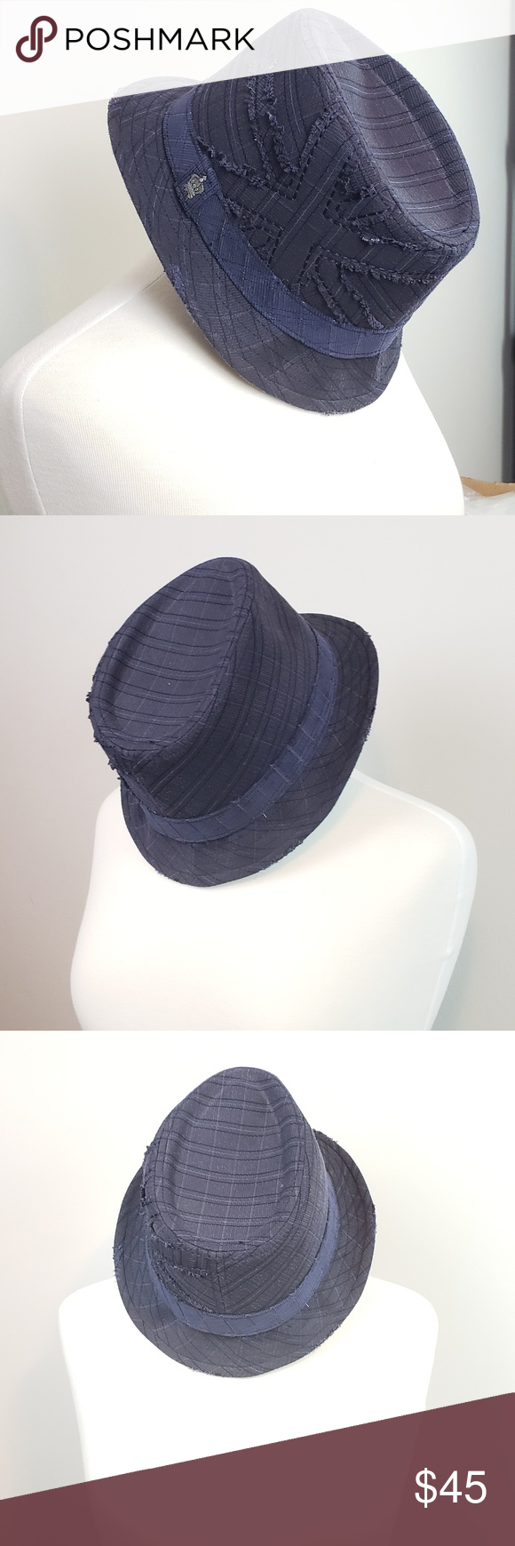 a02e5933114c0 Christys Crown Series Blue Fedora by Tony Merenda Christys Crown Series  Blue Fedora by Tony Merenda. No flaws. Size Medium. Circumference 24 inches.