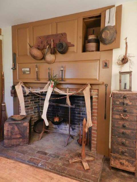 Mustard fireplace with cubbies fireplaces pinterest primitives mustard fireplace with cubbies teraionfo