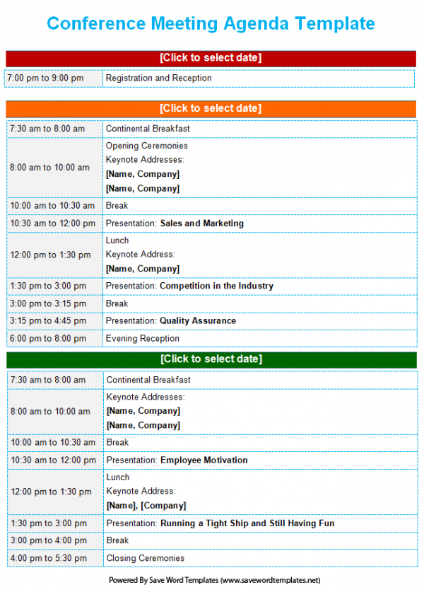 Meeting Agenda Template  Business Itinerary Template With Meetings