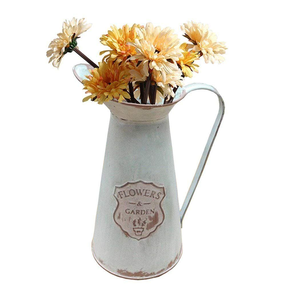 Apsoonsell Rustic Metal Flower Vase Primative Jug Pitcher For Country Farmhouse Decor Click Image To Rev Flower Vases Country Farmhouse Decor Metal Flowers