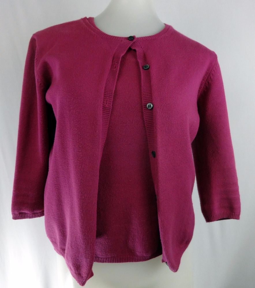 BANANA REPUBLIC S Raisin Purple Pink Sleeveless 3/4 Sleeve Sweater ...