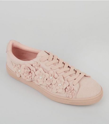 Pink Suedette 3D Flower Trainers | New