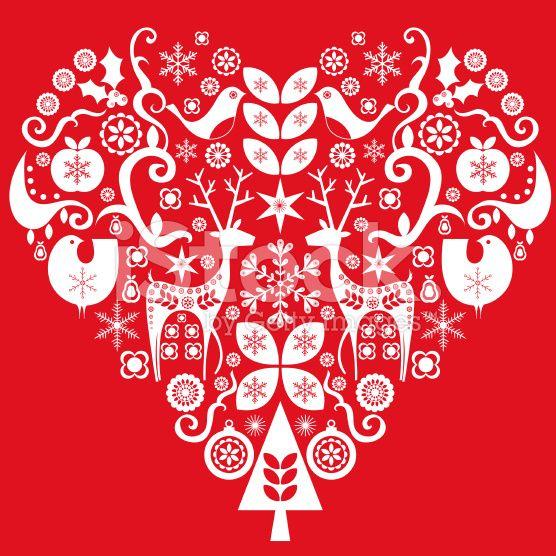 Christmas Heart Vector.Christmas Heart Composition In Retro Modern Scandinavian