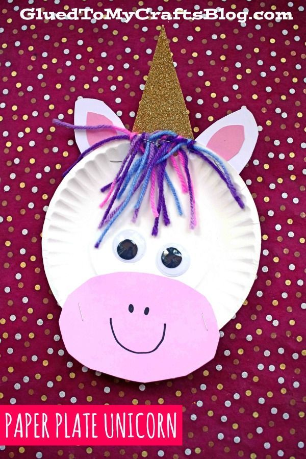Paper Plate Unicorn  Kid Craft - Spring crafts for kids, Crafts for kids, Kindergarten crafts, Letter a crafts, Crafts, Daycare crafts - Inspired by some beautiful rainbow colored yarn I recently found at Michaels, today I present to YOU our Paper Plate Unicorn kid craft idea!