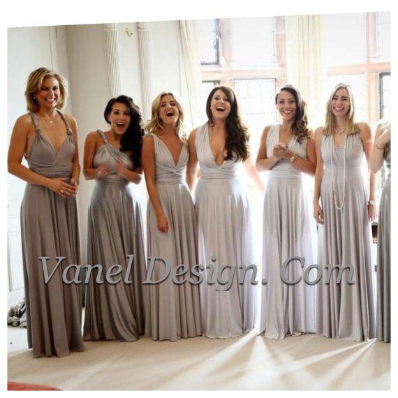GREY Bridesmaid Dress Long Convertible Bridesmaids Dresses Infinity ...