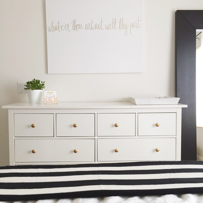 Ikea hemnes dresser with spray painted gold knobs for Ikea brusali dresser