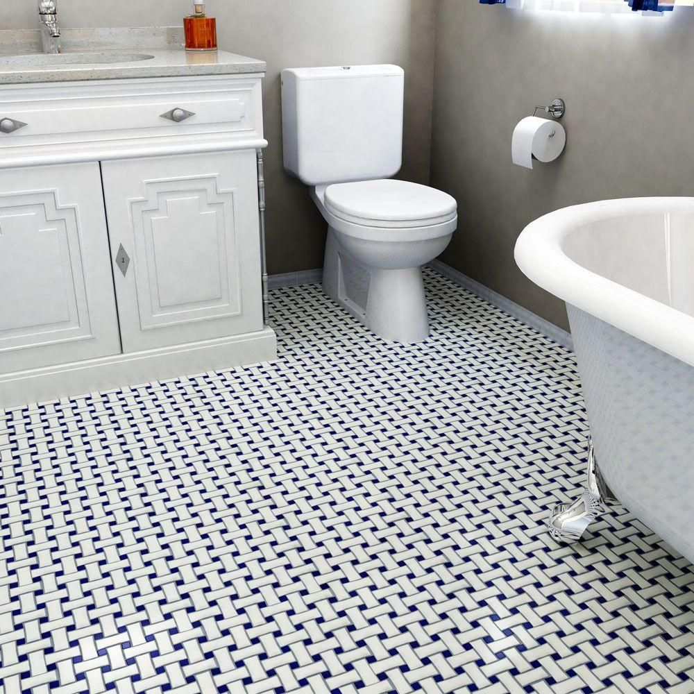 Merola Tile Metro Basket Weave White And Cobalt 10 1 2 In X 5 Mm Porcelain Mosaic Fdxmbwwc The Home Depot
