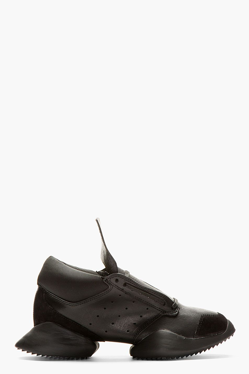wholesale dealer ed294 7c0a6 RICK OWENS Black Leather Island Sole adidas Edition Sneakers
