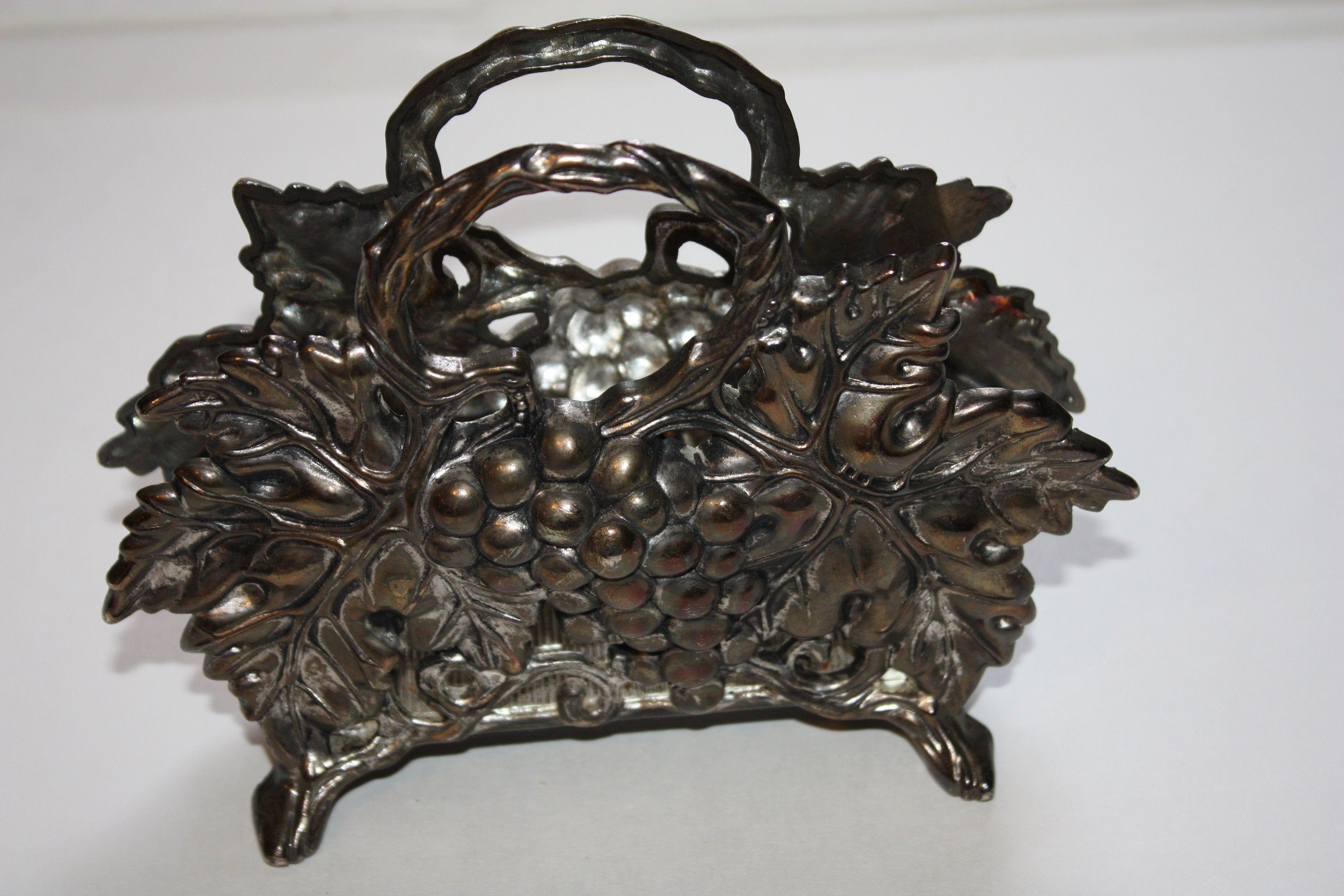 Silver Plated Napkin Holder Grapes Vintage Antique Gift New