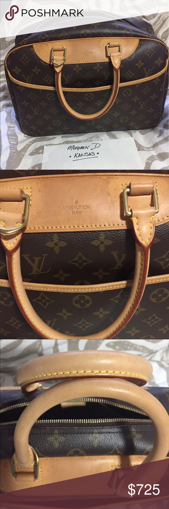 Authentic Louis Vuitton Deauville Authentic Louis Vuitton Deauville in Monogram! Made in France. Date code MB0025. Excellent condition, interior is super durable with no wear. Excellent canvas. Very light patina. Only flaw is small water spotting on front. Hardware still yellow gold. Zipper runs smoothly. Includes Authentic Louis Vuitton dustbag. Louis Vuitton Bags Satchels