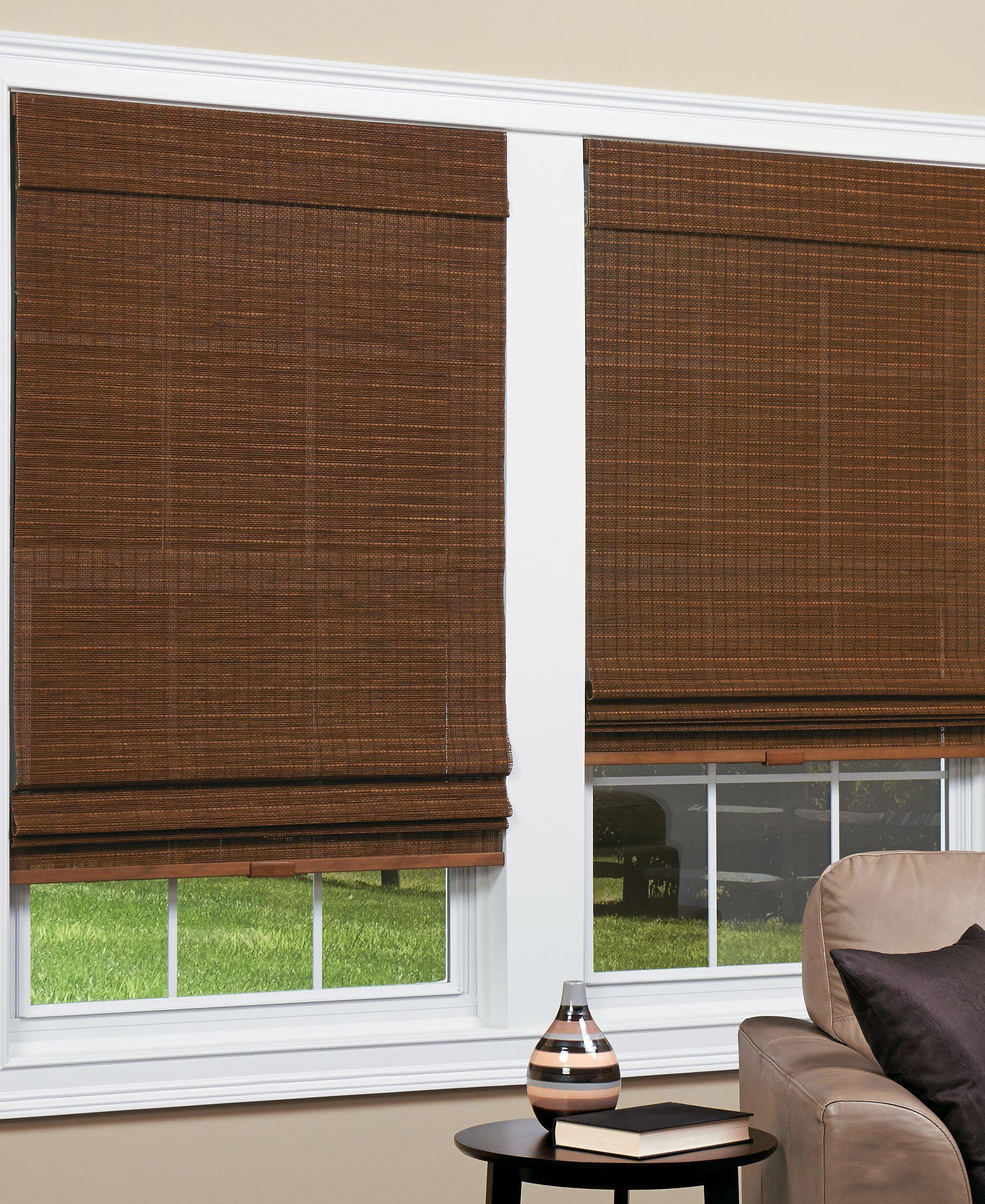 Homebasics Cordless Natural Woven Bamboo Panama Roman Shade 31 X
