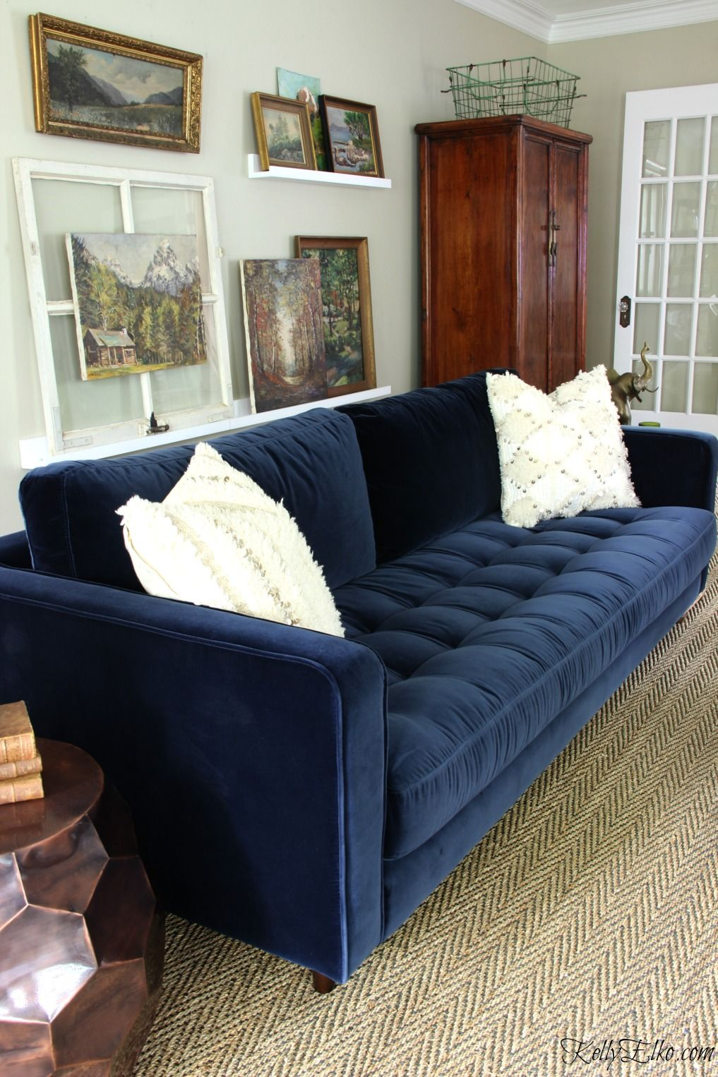 Blue Is A Neutral New Blue Sofa Blue Sofas Living Room Velvet Sofa Living Room Blue Velvet Sofa Living Room