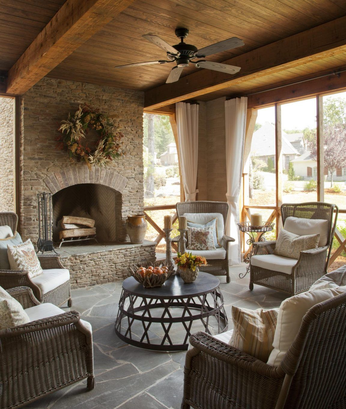 This Screened Porch Is A Perfect Mix Of Old And New And