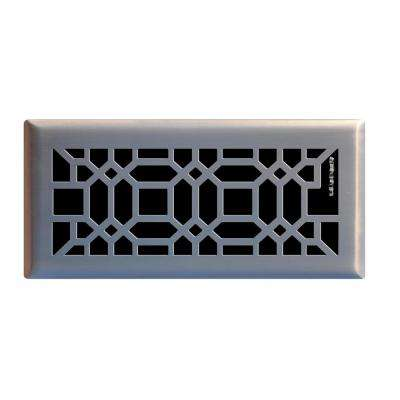 Hampton Bay 4 In X 10 In Oriental Floor Register In Brushed Nickel E1403 Bn 04x10 The Home Depot In 2020 Floor Registers Hampton Bay Floor Vent Covers