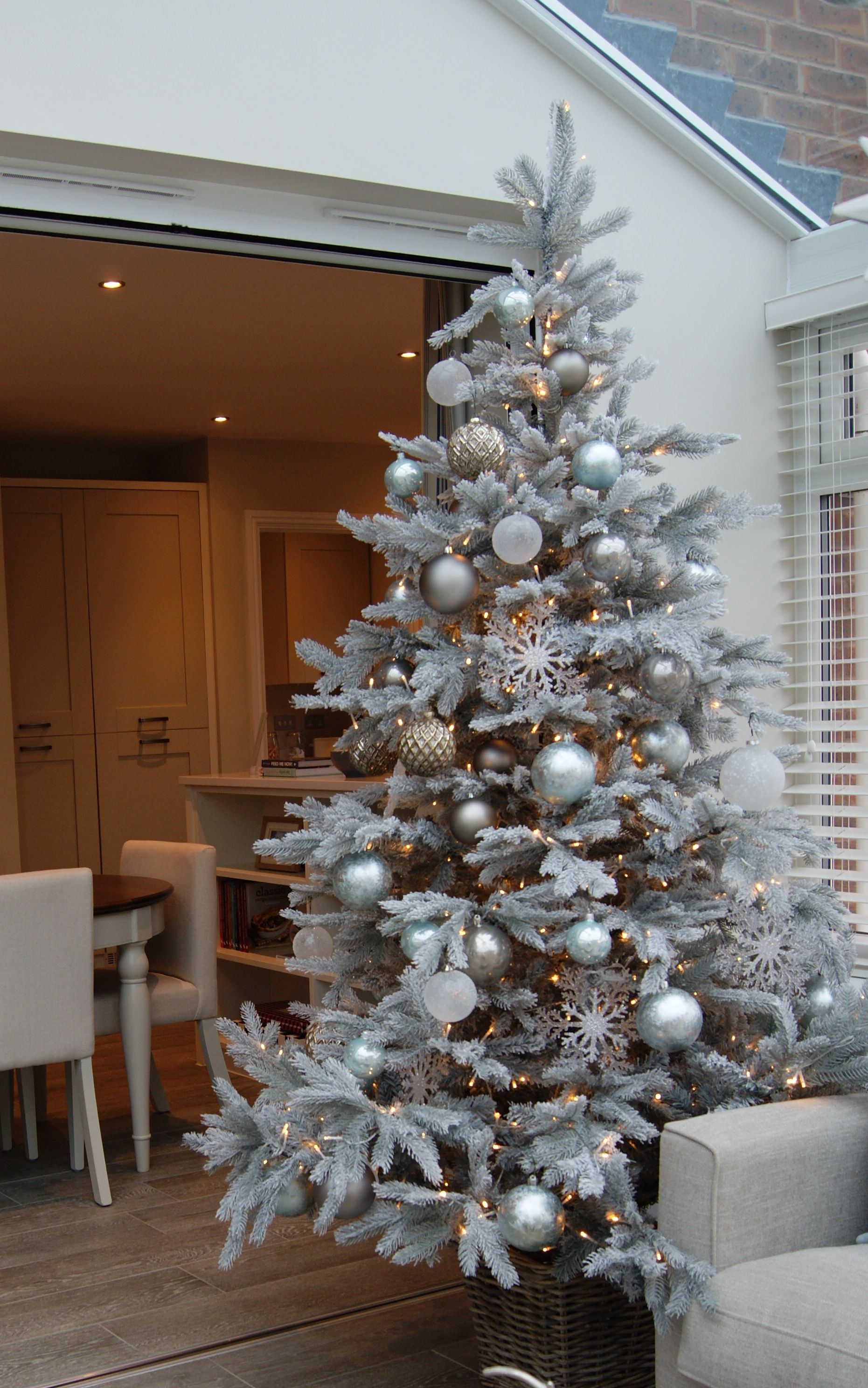 Winter Wonderland Style Tree, With Frosted Baubles And Snowflake Decorations