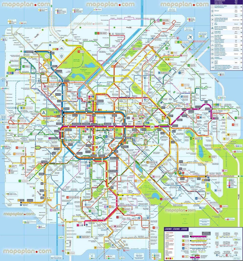 Brussels map Map of Brussels metro tram bus Public transport New