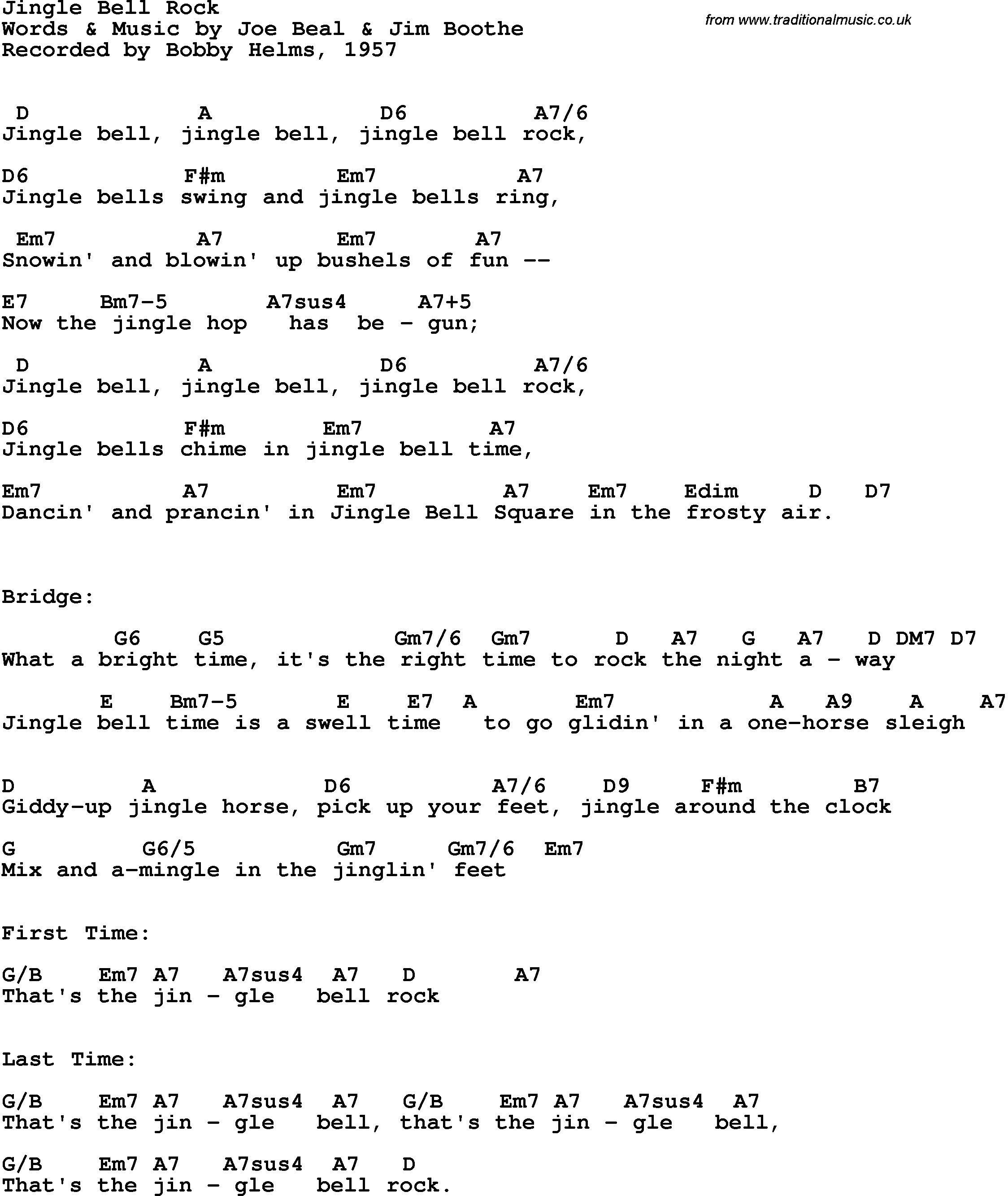 Jingle Bell Rock Chords Google Search Jingle Bells Words Jingle