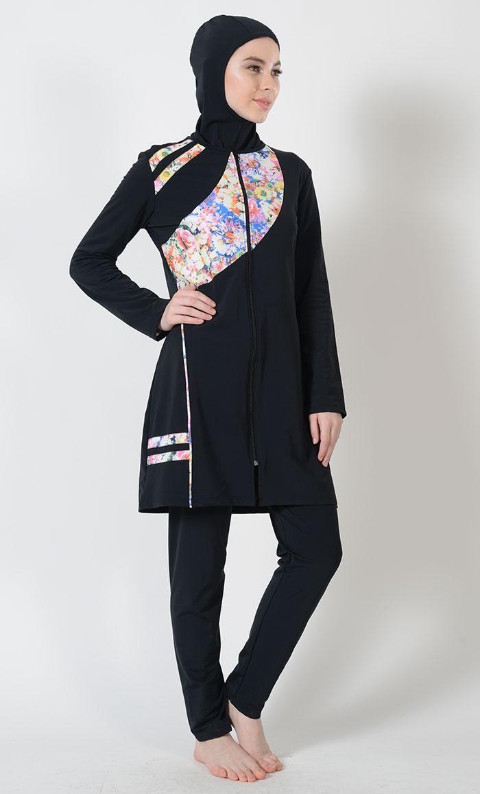 9d22cc7ef32fb Kilam - #Kilam Tropical Print Zip-Up Swimwear Burkini-Final Sale ...