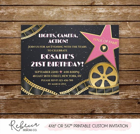 Hollywood Party Invitation Red Carpet Invitation Movie Awards Etsy Hollywood Party Invitations Hollywood Party Theme Movie Themed Party