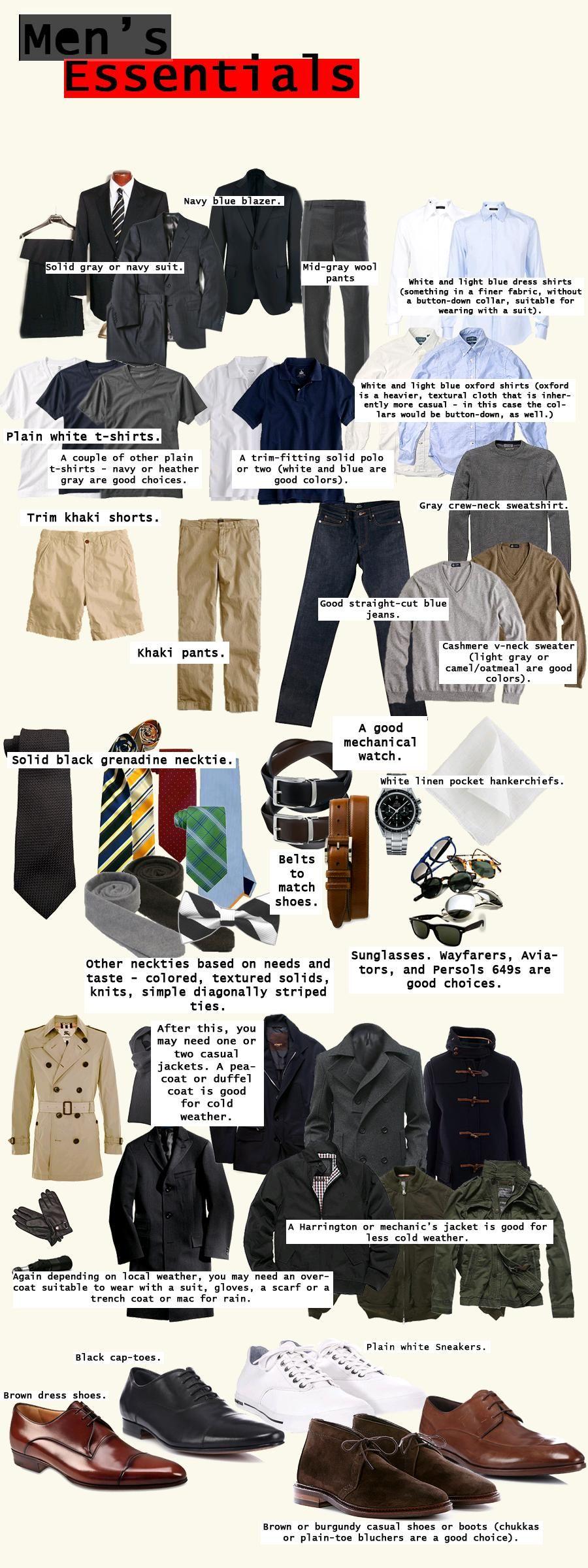men 39 s essentials was m nner im kleiderschrank brauchen inspiration pinterest moda. Black Bedroom Furniture Sets. Home Design Ideas