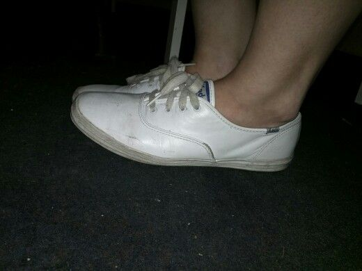White leather keds well worn