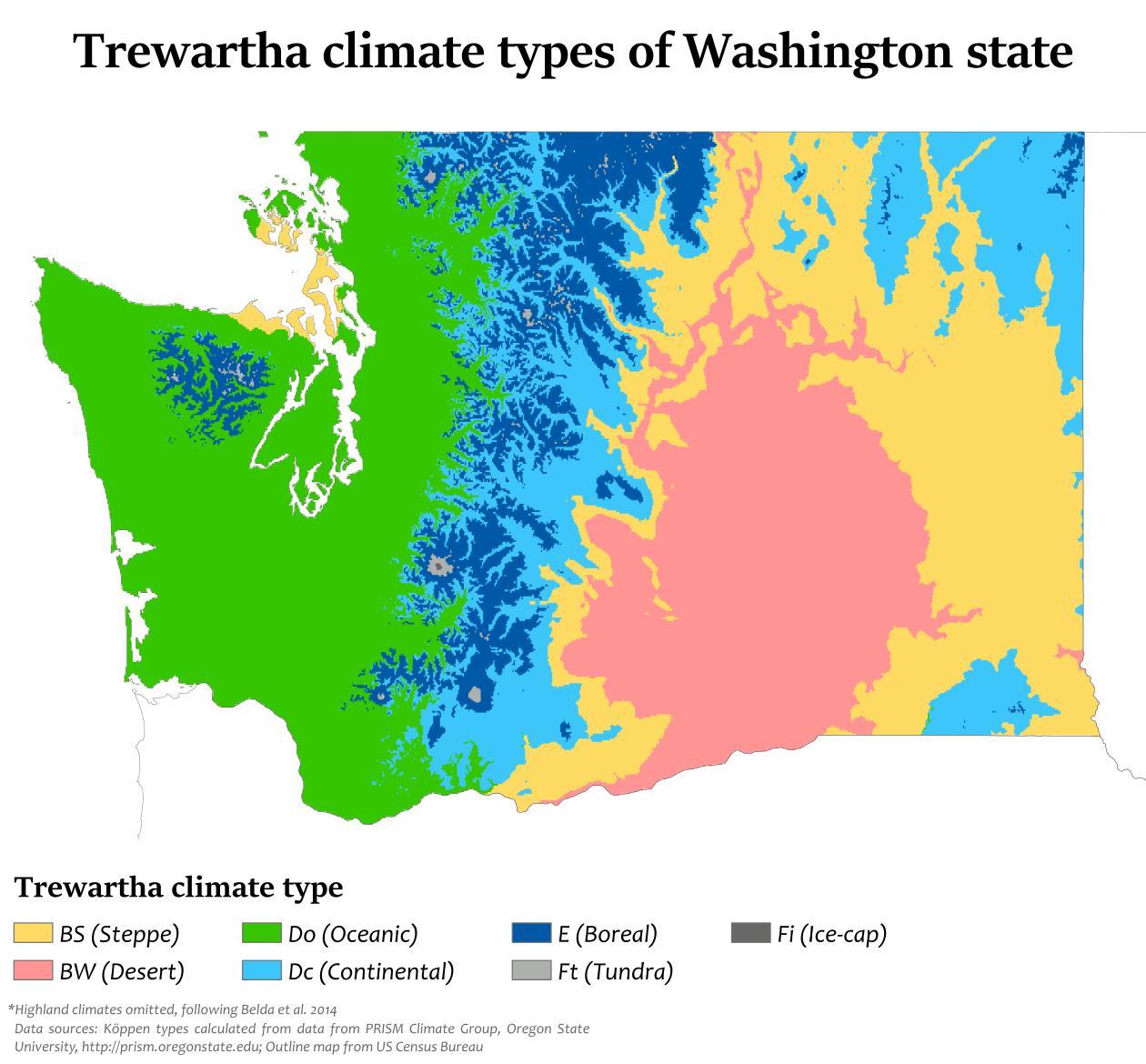 Trewartha Climate Types Of Washington State