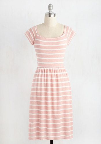 Quaint the Town Dress. Guided by your passion for penny candy, you drift through town in this pink and white dress. #pink #modcloth