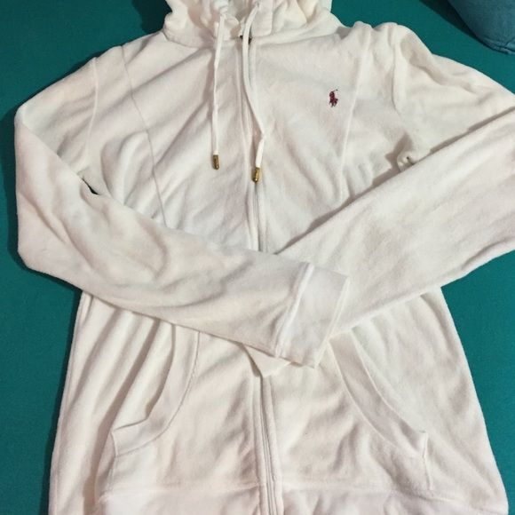 Polo terry cloth zip-up sweatshirt White Polo zip-up hooded sweatshirt, terry cloth, size small. Great for summer, especially over bathing suits. Never worn, perfect condition. Gold accent zipper and drawstrings. Polo by Ralph Lauren Tops Sweatshirts & Hoodies