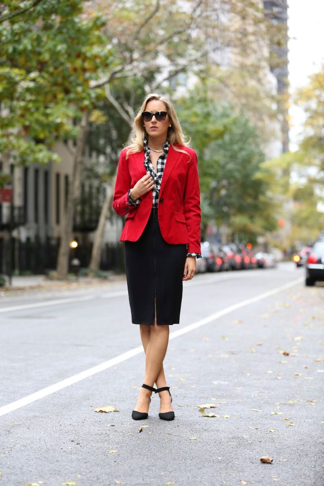 02596ba9525 red blazer with checkered shirt and pencil skirt Classy Cubicle
