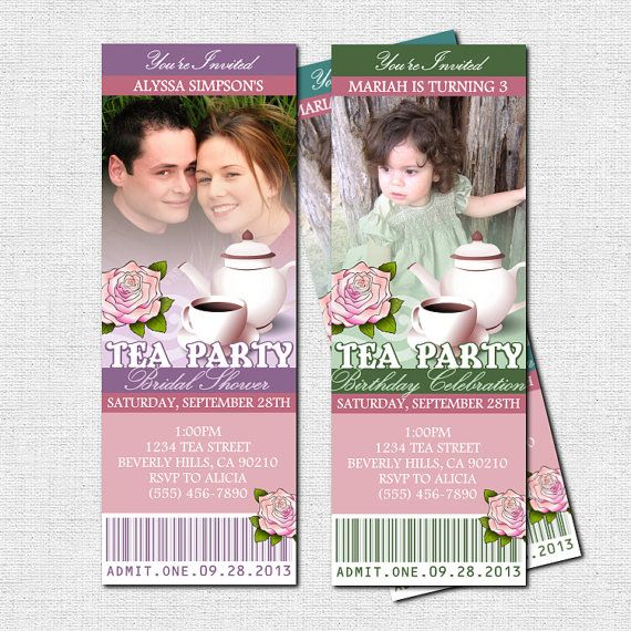 TEA PARTY TICKET Invitations - Bridal Shower or Birthday - party ticket invitations