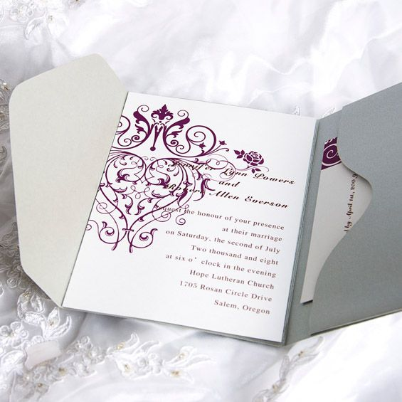 Vintage Purple Chandelier Grey Pocket Wedding Invitation Kits Ewpi029